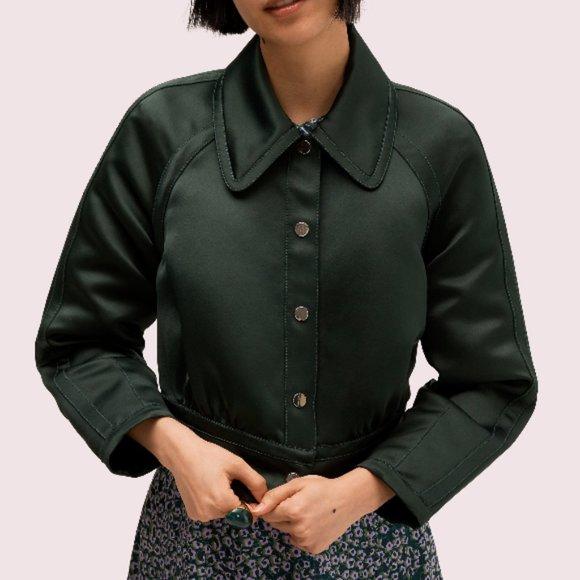 Kate spade satin cropped jacket in Green